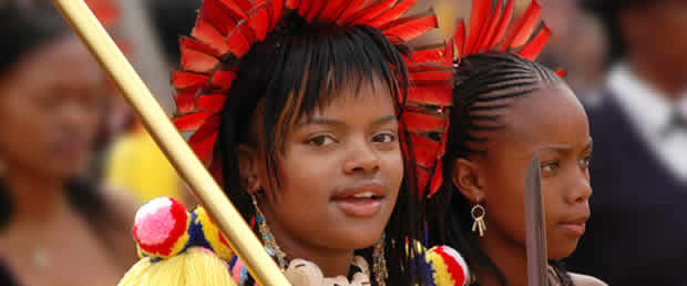 Young women at the annual Swazi reed dance festival